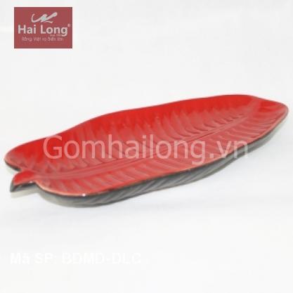 Đĩa sứ dáng lá chuối để Sallat, cá nướng (Đỏ)