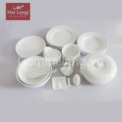 Set 22 sản phẩm bộ đồ ăn sứ cao cấp (Trắng)