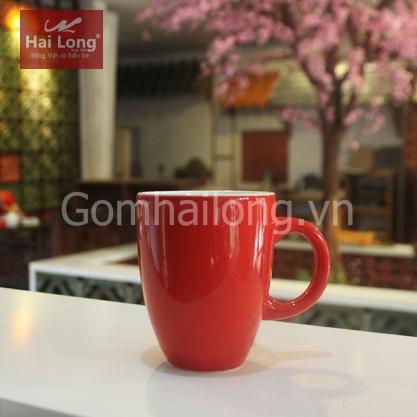 Tách cà phê Latte dáng ý men đỏ quai C
