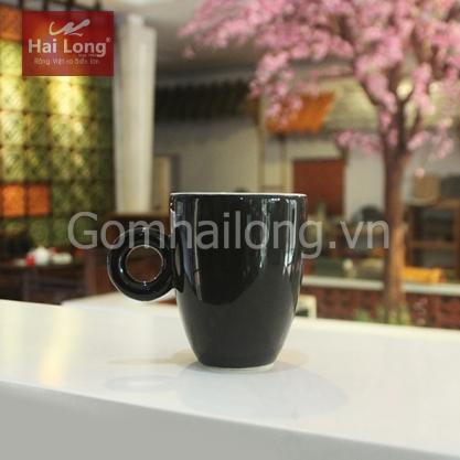 Tách cà phê Latte quai tròn 280ml (Đen)