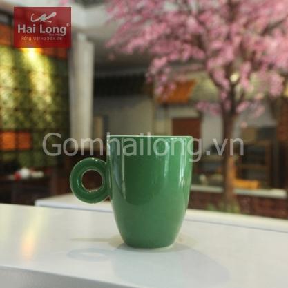 Tách cà phê Latte quai tròn 280ml (Xanh lá)