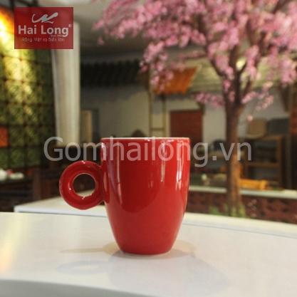 Tách sứ uống cà phê Latte quai tròn 280ml (Đỏ)
