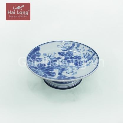 Mâm bồng men xanh ngọc phi 25cm (Xanh cổ)