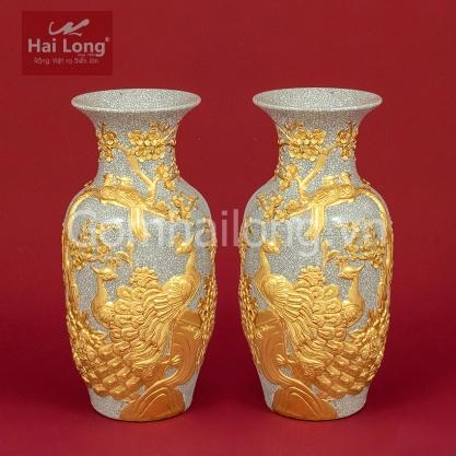 Tiểu Lộc Bình Công Đào men Rạn Gạo Nếp dát vàng H27