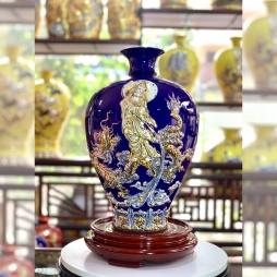 Bình gốm phong thủy Bảo Bình An - Hải Long Bát Tràng