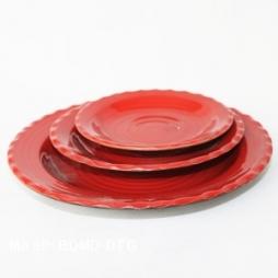 Đĩa sứ tròn gân kiểu Nhật Bản (Đỏ)