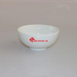 Bát sứ ăn cơm in logo quà tặng (Trắng)