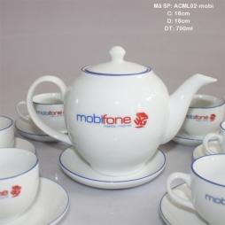Bộ ấm chén sứ chỉ xanh in logo MobiFone 700ml (Trắng)
