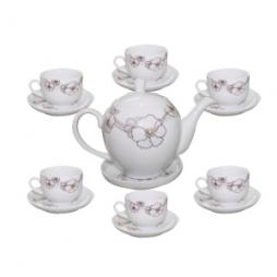 Ấm chén sứ pha trà dáng Minh Long hoa dây bạch kim 700ml (Trắng)