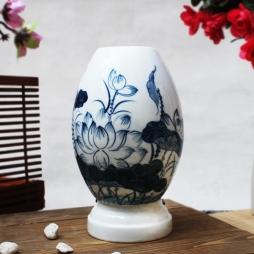 Đèn xông tinh dầu họa tiết hoa sen xanh cỡ lớn