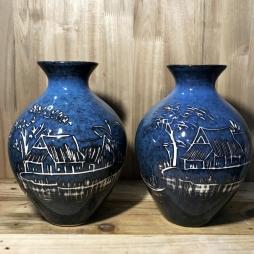 Vò cổ cao men đá xanh khắc cảnh làng quê
