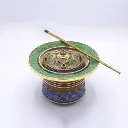Bát điếu họa tiết rồng diềm xanh đồng cổ