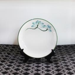 Đĩa sứ tròn Sen xanh vẽ tay phi 18cm (Trắng)