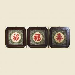 Tranh sứ vuông Phúc Lộc Thọ thư pháp