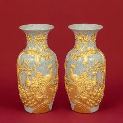 Tiểu Lộc Bình Công Đào men Rạn Gạo Nếp dát vàng