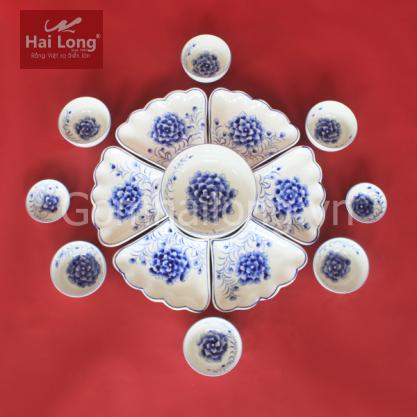 Bộ bát đĩa hoa mặt trời vẽ Cẩm Tú Cầu xanh lam - gốm sứ thủ công tại Bát Tràng
