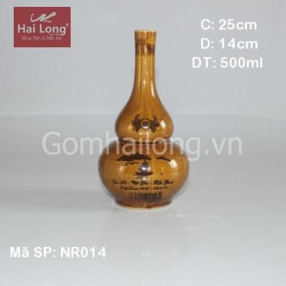 Nậm rượu bằng sứ làng Vân-Nếp cái hoa vàng