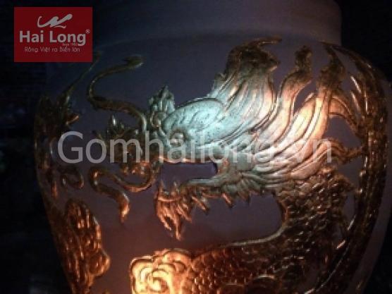 Chum sành dát vàng 9999 - Ngũ Long Tranh Châu