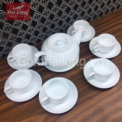 Bộ ấm pha trà gốm sứ Hải Long Bát Tràng