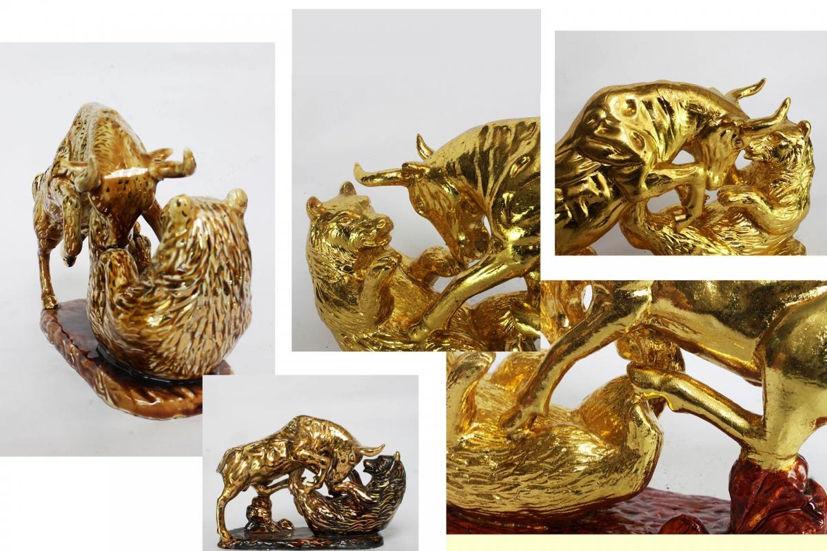 tượng trâu gốm sứ vẽ vàng